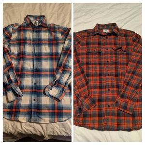 Two Old Navy men's plaid flannel shirts